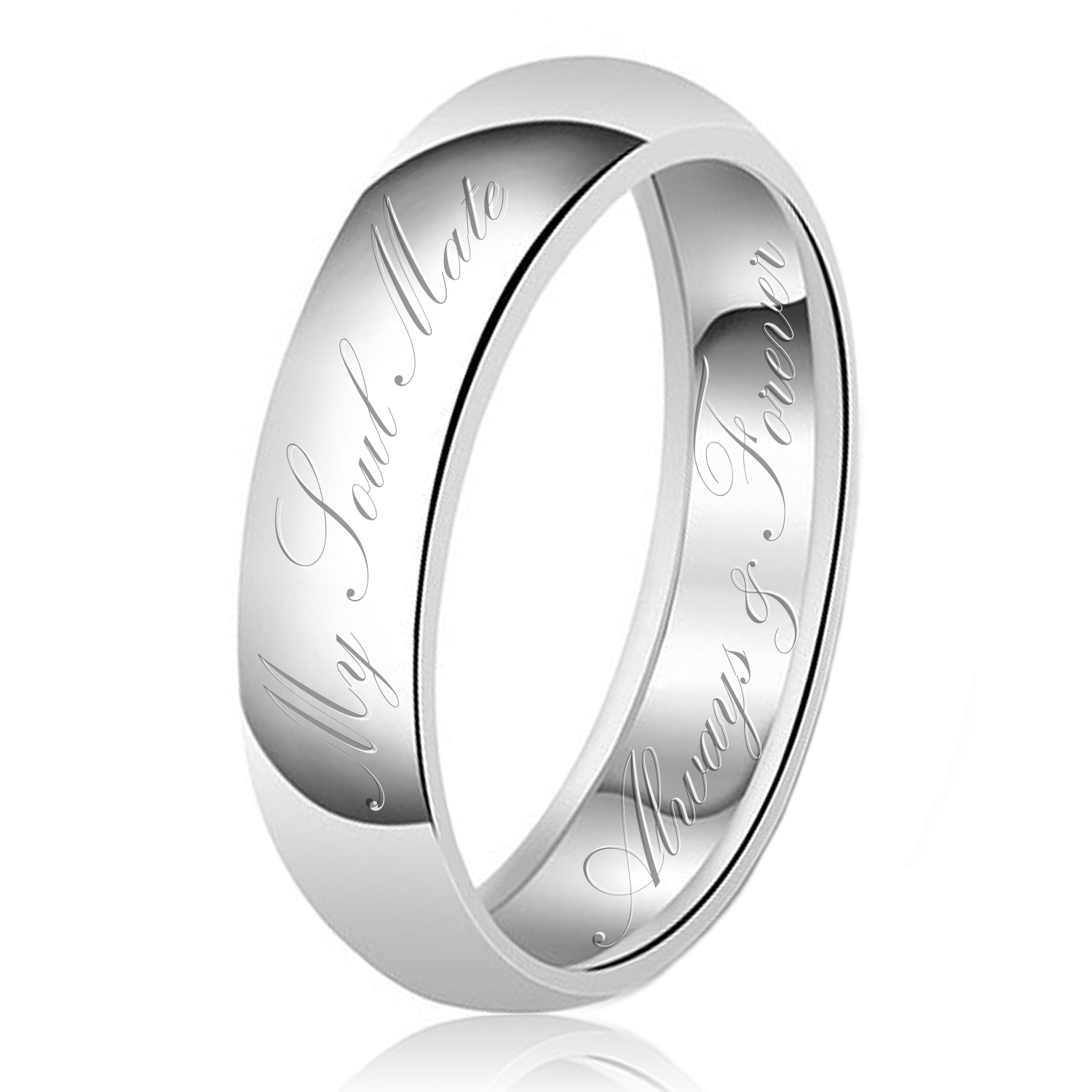 7mm My Soul Mate Always & Forever Engraved Classic Sterling Silver Plain Wedding Band Ring