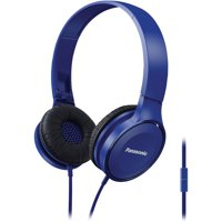 Panasonic RP-HF100M-A Panasonic Lightweight On-Ear Headphones With Microphone (Blue)
