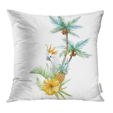 CMFUN Green Beverage Watercolor of Tropical Palms with Parrot and Pineapple Orange Pillow Case Pillow Cover 20x20 inch Throw Pillow Covers