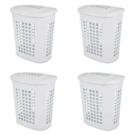 Sterilite, 2.3 Bushel/81 L LiftTop Laundry Hamper, White, Case of 4 ()