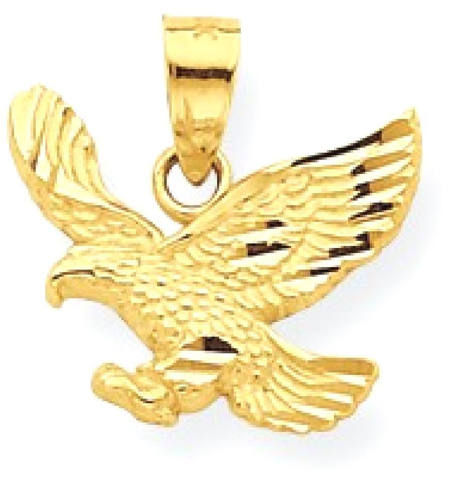 IceCarats 10k Yellow Gold Eagle Pendant Charm Necklace Bird Fine