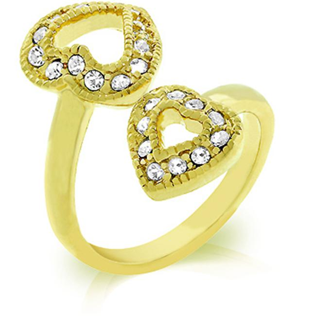 Kate Bissett R07975G-C02-05 18k Gold Plated Dual Pave CZ Hearts Ring in Goldtone - Size 5