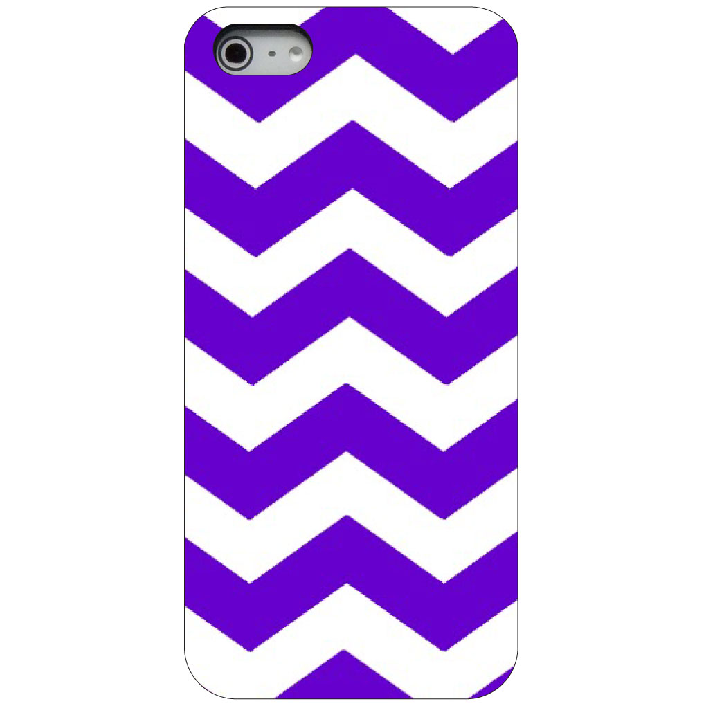 CUSTOM Black Hard Plastic Snap-On Case for Apple iPhone 5 / 5S / SE - Purple White Chevron Stripes