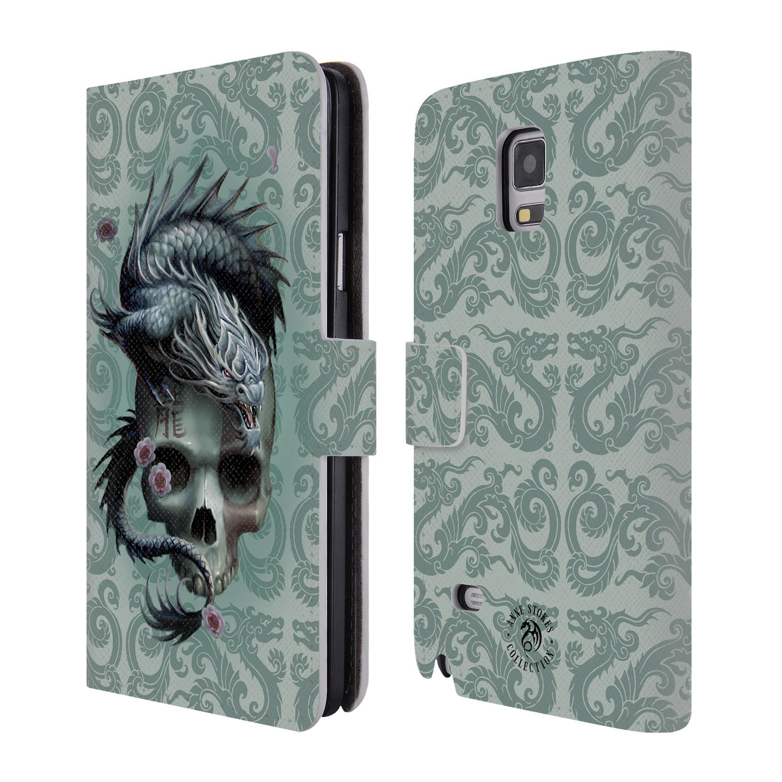 OFFICIAL ANNE STOKES ORIENTAL SKULL LEATHER BOOK WALLET CASE COVER FOR SAMSUNG PHONES 1