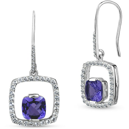 Amethyst And Created White Shire 7mm Cushion Cut Center Sterling Silver Open Square Eurowire