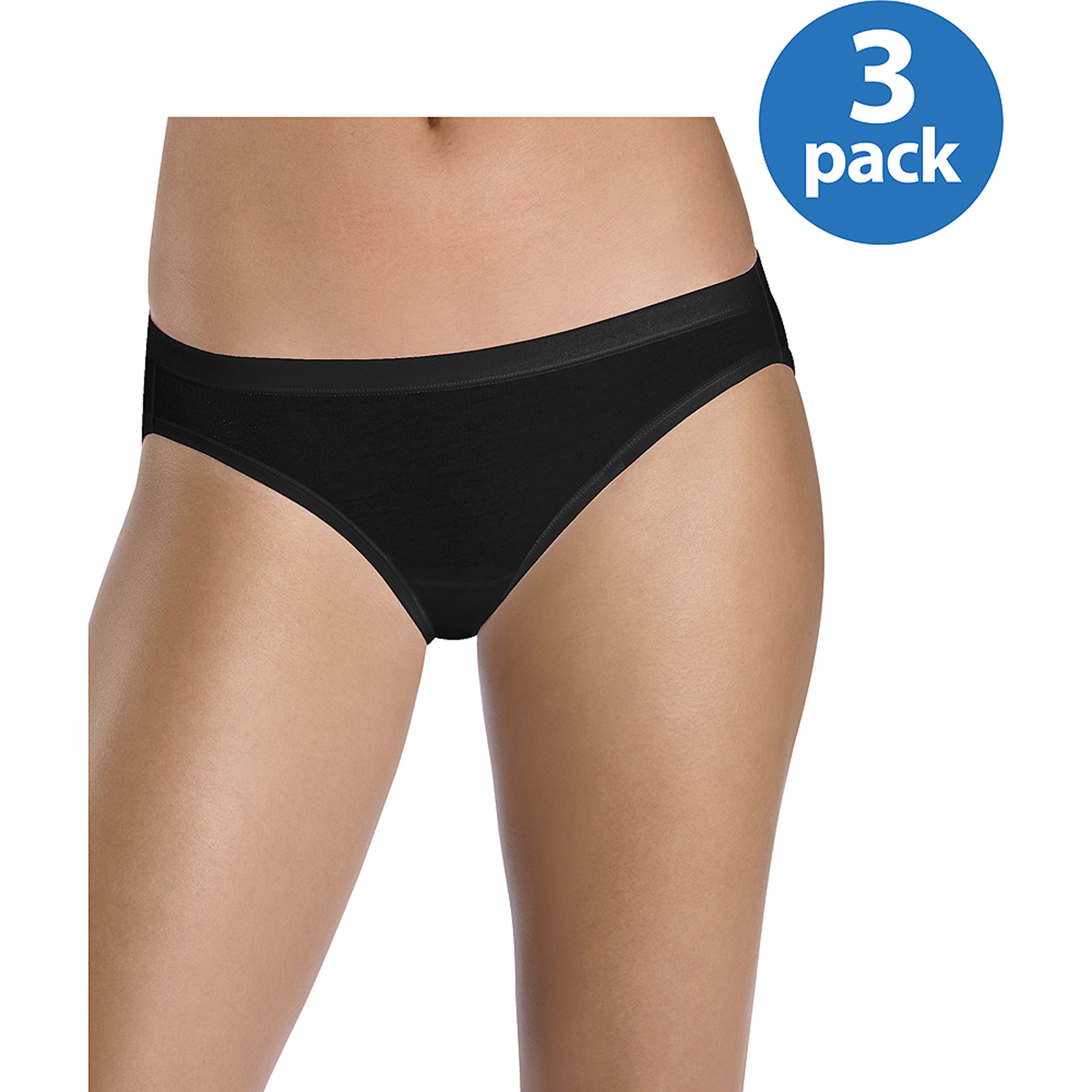 Hanes - Women's Assorted Cotton Stretch Bikini Panties, 3-Pack