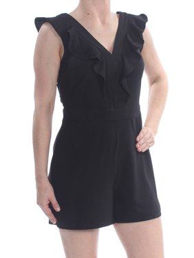 BAR III Womens Black Ruffled Darted Low Back Zipped Cap Sleeve V Neck Party Romper  Size: 6