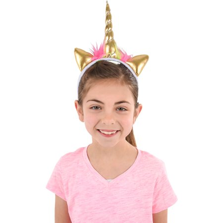 Soft Plush Gold Mystical Magical Unicorn Horn Headband Costume Accessory