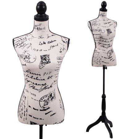 Female Mannequin Torso Designer Pattern Dress Form Display W Black