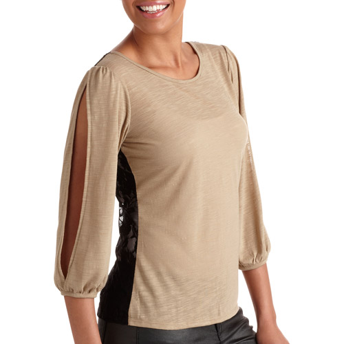 Women's 3/4 Sleeve Top with Lace Back