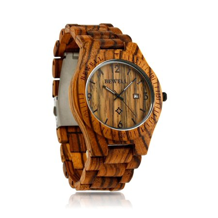Grande Date Watch - Fashion Wood Watch Bamboo Wooden Analog Quartz Date Display Men's Wristwatch