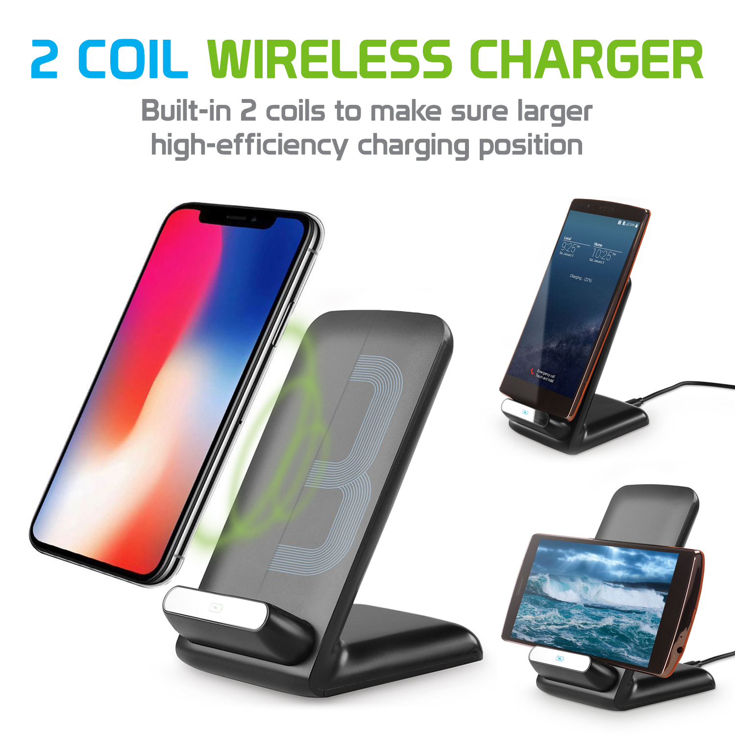 2 Coil Qi Wireless Charger (10Watt/2.1Amp), Fast Wireless Charging Stand for Samsung Galaxy Note 8, Apple iPhone X and All Wireless (Qi) Enabled Devices – by Cellet - Black