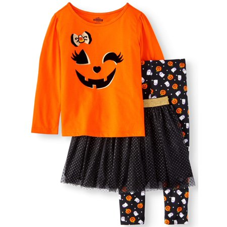 Halloween Long Sleeve T-Shirt, Leggings & Glitter Tutu, 3pc Outfit Set (Toddler Girls) - Doctor Who Halloween Outfit