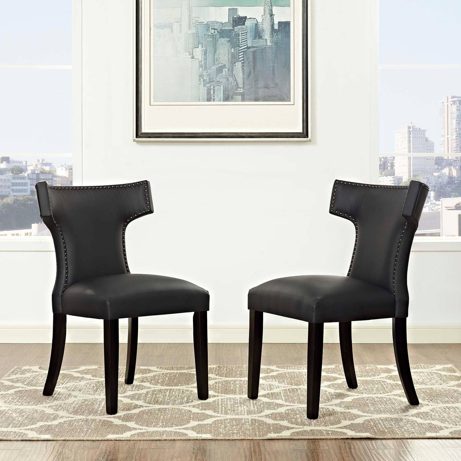 Modway Curve Leatherette Dining Side Chair, Set of 2, Multiple Colors