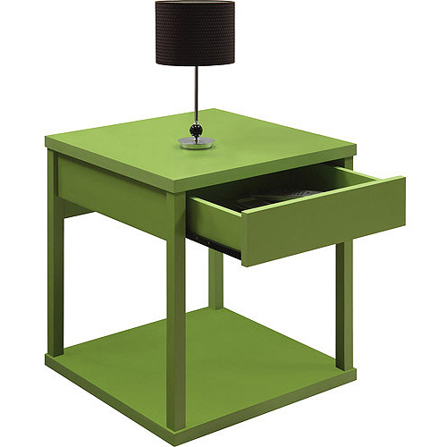 Mainstays Parsons End Table with Drawer, Lime Green