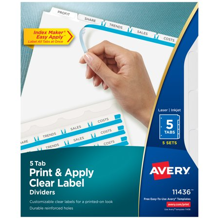 Avery 5-Tab Binder Dividers, Easy Print & Apply Clear Label Strip, Index Maker, White Tabs, 5 Sets (11436) Avery Index Maker White Dividers