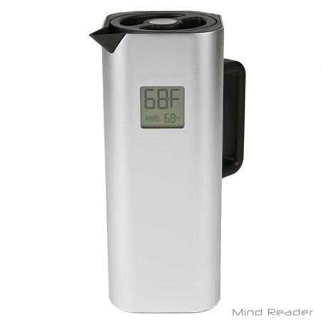 Mind Reader Double Wall Stainless Steel Thermal Coffee Carafe with Temperature Display, Silver