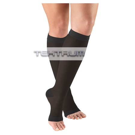 Tektrum - A Pair of Knee High Firm Graduated Compression Socks 23-32mmHg for Men & Women - Best for Maternity Pregnancy, Sports, Flight Travel - Open Toe, Black, Large US/X-Large