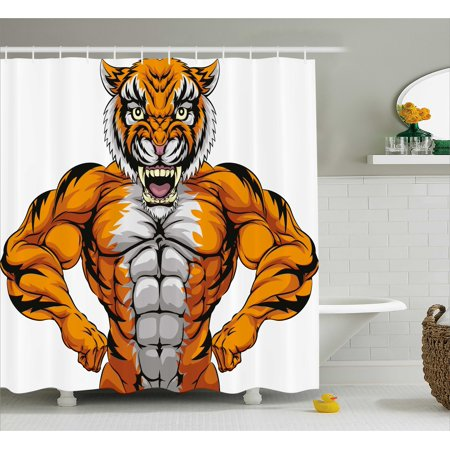 Animal Shower Curtain, Wildlife Safari African Animal Bodybuilder Tiger Cartoon Image, Fabric Bathroom Set with Hooks, 69W X 84L Inches Extra Long, Marigold Light Grey and Black, by Ambesonne