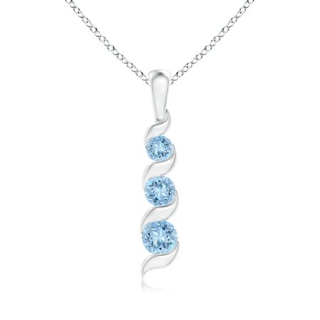 Mother's Day Jewelry - Channel-Set Round Aquamarine Three Stone Journey Pendant in 14K White Gold (4mm Aquamarine) - (14k White Gold Journey Pendant)