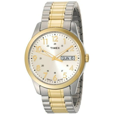 Timex Men's T2M935 Elevated Classics Dress Two-Tone Expansion Band Watch Mens Timex Analog Dress Watch