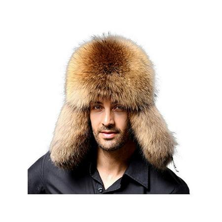 a7553a7b15 Mens Winter Warmer Faux Fur Trapper Ski Russian Ushanka Trapper Bomber Hat  Gift - Walmart.com