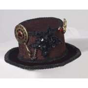 Mini Steampunk Top Hat with Gears Hair Accessory, Black Gold Red, One-Size
