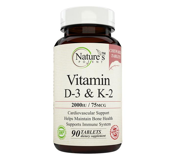 Nature's Potent™ -  Vitamin D-3 & K-2 2000 IU/75 mcg, Chewable Tablets