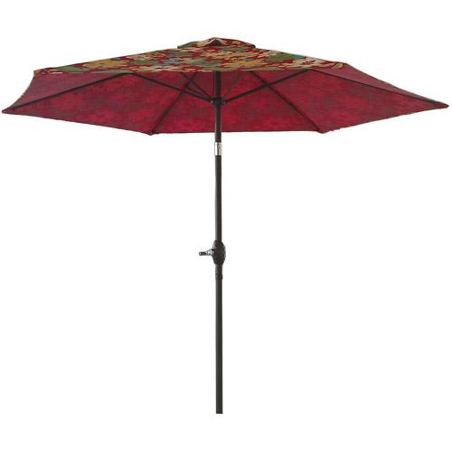 Mainstays 9' Round Textured Umbrella, Fun Floral Red