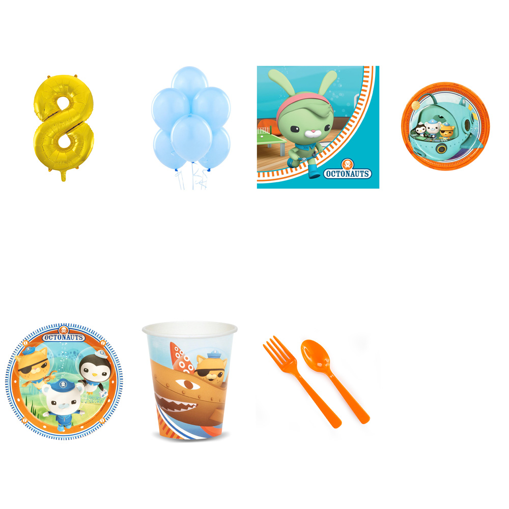 OCTONAUTS PARTY SUPPLIES PARTY PACK FOR 32 WITH GOLD #8 BALLOON