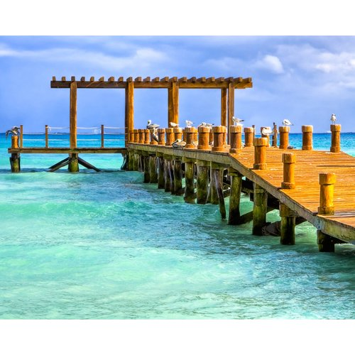 TAF DECOR Overlooking a Pier on The Caribbean Sea Photographic Print on Canvas