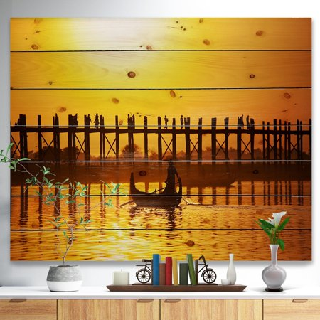 - DESIGN ART Designart 'Bridge in Myanmar' Sea & Shore Nautical Print on Natural Pine Wood - Multi-color