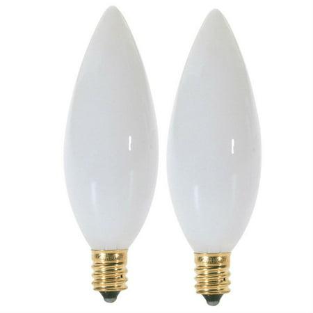 Satco S3788 25W 120V B9.5 Gloss White E12 Candelabra Base lamp - 2 bulbs