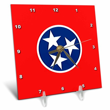 3dRose State Flag of Tennessee (PD-US), Desk Clock, 6 by 6-inch
