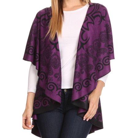 Sakkas Balie Reversable Printed Mid Weight Warm Poncho Throw Shawl / Cardigan - Purple / Black - OS
