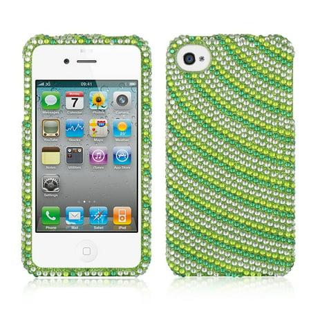 DreamWireless Rainbow Swirl Rhinestone Diamond Bling Hard Snap-in Case Cover For Apple iPhone 4/4S, Green (Green Swirl Logo)