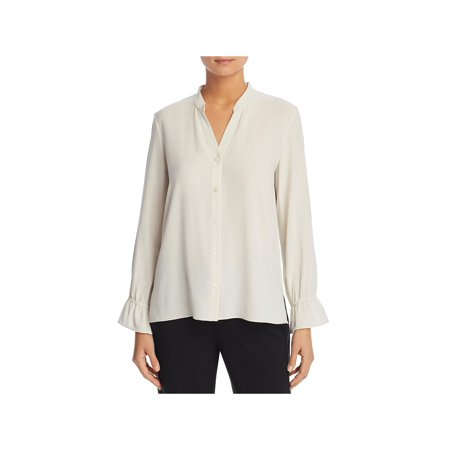Eileen Fisher Womens Silk Bell Sleeve Blouse Beige XS Silk Bell Sleeve