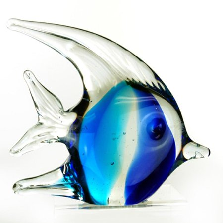 4.5 Inch Bubble Angel Fish Glass Blown Décor Figurine, Teal and (Flame Angel Fish)