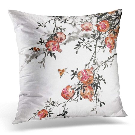 ARHOME Green Bamboo Peach Longevity Traditional Chinese Painting Pink Floral Pillow Case Pillow Cover 20x20 inch](Pink Bamboo)