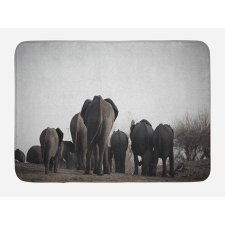 Elephant Bath Mat, Image of Herd of African Elephants Walking the River Tropical Wildlife Art Safari Theme, Non-Slip Plush Mat Bathroom Kitchen Laundry Room Decor, 29.5 X 17.5 Inches, Grey, Ambesonne - Safari Theme Decor