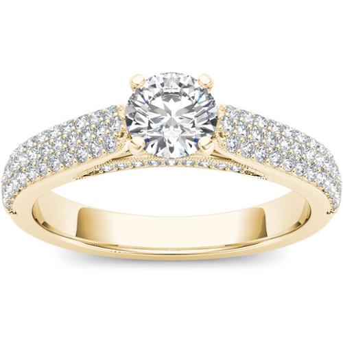 De Couer  14k Yellow Gold 1ct TDW Diamond Pave Band Engag...