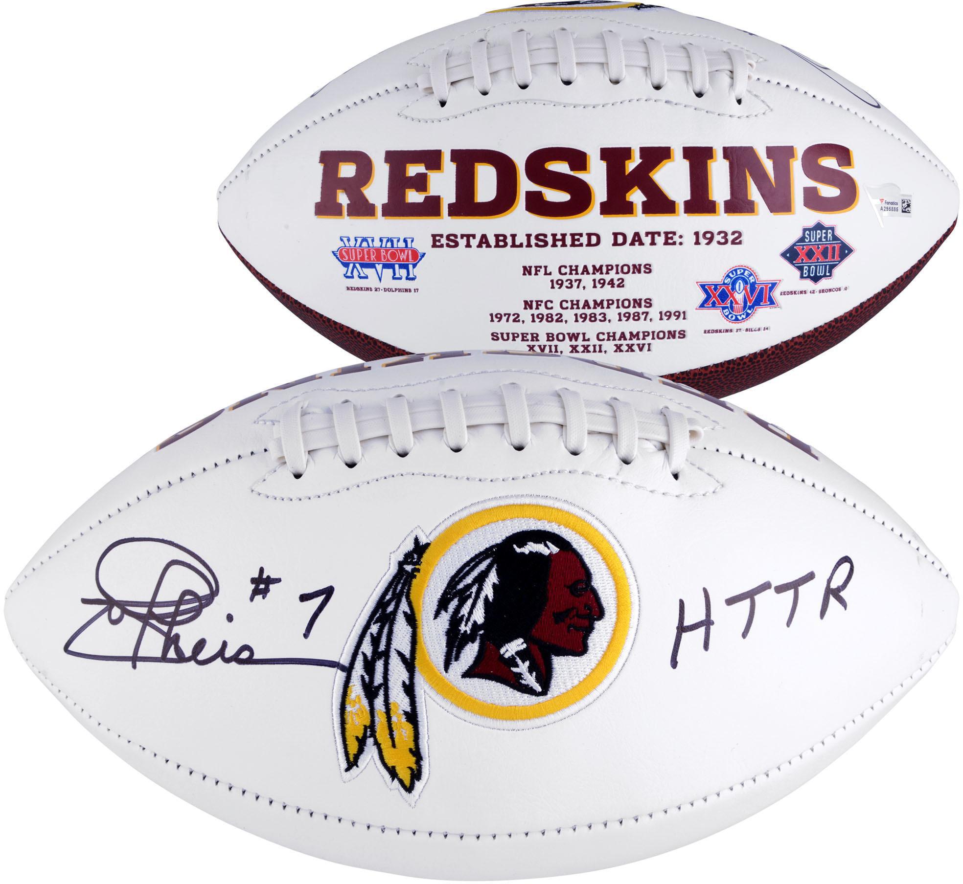 "Joe Theismann Washington Redskins Autographed White Panel Football with ""HTTR"" Inscription - Fanatics Authentic Certified"