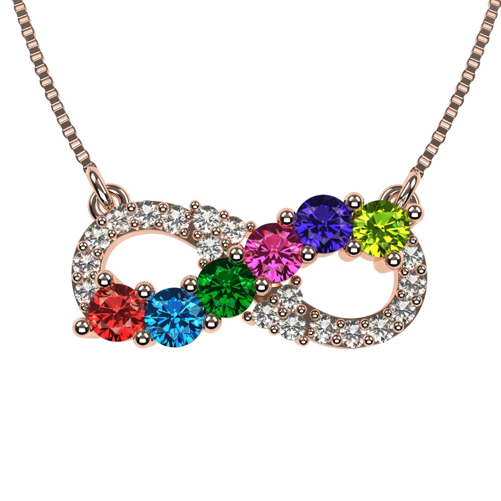 NANA Infinity Mother's Necklace 1 to 6 Stones 10k or 14k ...