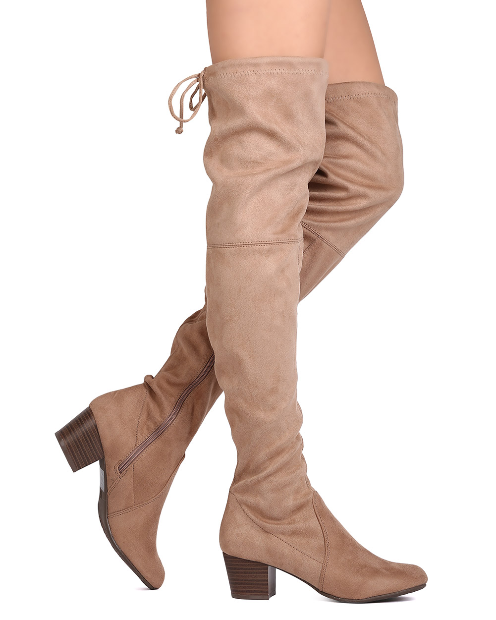 Breckelles GK89 Women Faux Suede Thigh High Drawstring Chunky Heel Boot