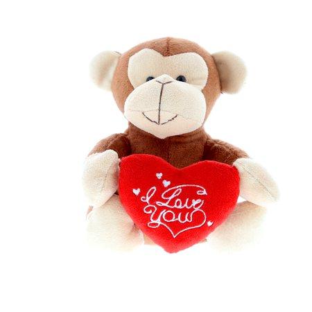 Super Soft Plush Dollibu Brown Monkey I Love You Valentines (Plush Valentine Monkey)