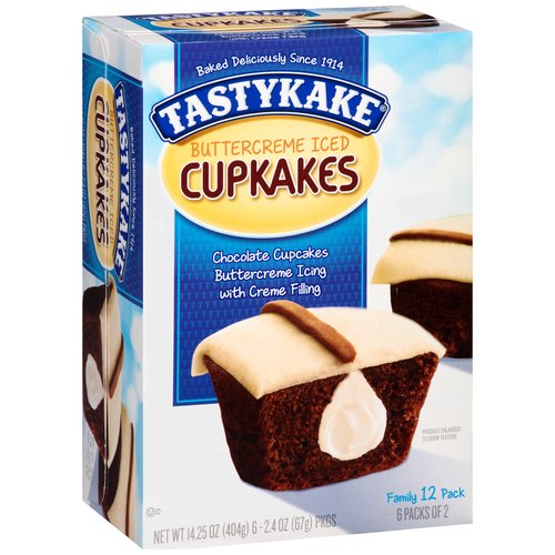 Tastykake Cream Filled Chocolate Cupcakes, 2.375 oz, 6 ct