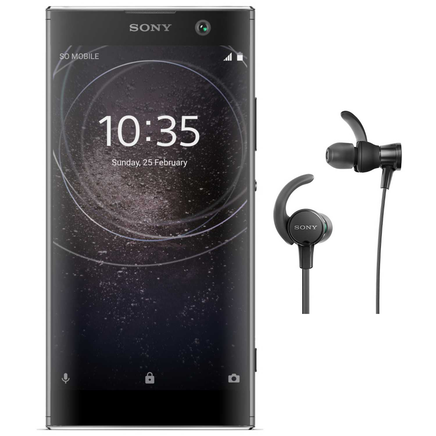 Sony Xperia XA2 Factory Unlocked Phone (Black) with Headphone Bundle