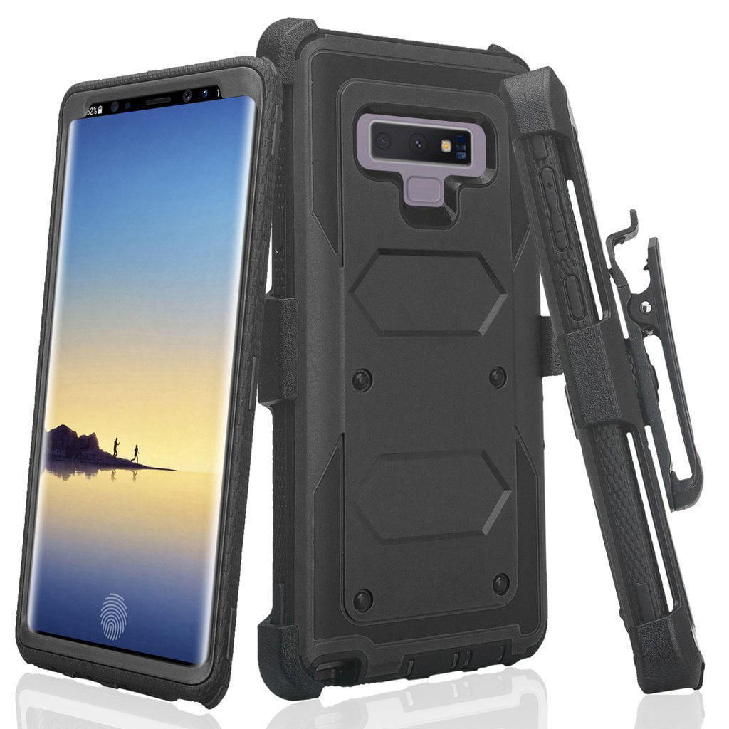 huge discount 8043b abb68 Samsung Galaxy Note 9 Case, 360 Degree Full Body Protection Case with  Rugged Holster Belt Clip and Kickstand for Galaxy Note 9 - Black