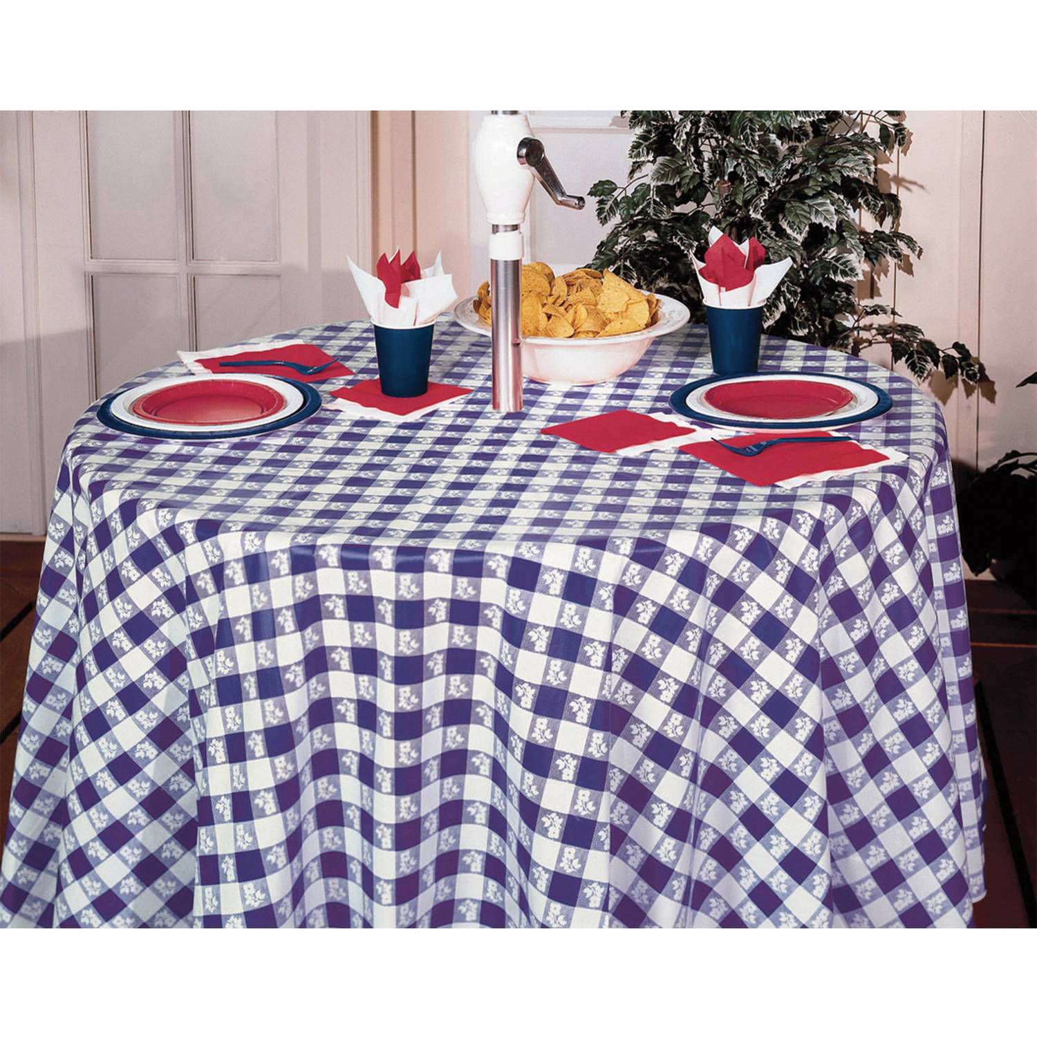 Blue Gingham Round Plastic Tablecloth