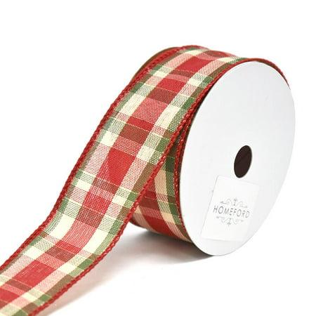 Plaid Christmas Ribbon (Plaid Prime Wired Christmas Ribbon, 1-1/2-Inch,)